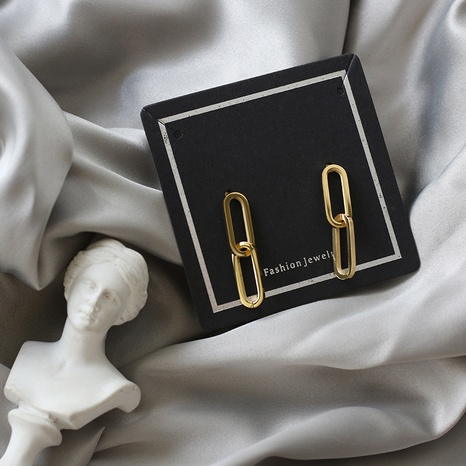 18K simple double oval hollow geometric titanium steel earrings wholesale nihaojewelry NHGC400481's discount tags