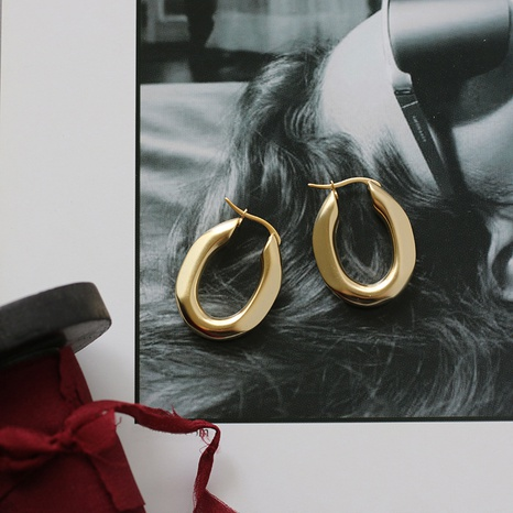 wholesale jewelry matte oval titanium steel gold-plated earrings nihaojewelry  NHGC400486's discount tags