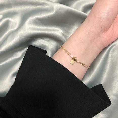 wholesale jewelry square pendant titanium steel plated 18K gold bracelet nihaojewelry  NHGC400487's discount tags