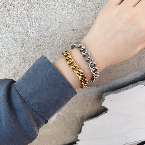 wholesale jewelry thick chain titanium steel 18K gold plated bracelet nihaojewelry  NHGC400493's discount tags