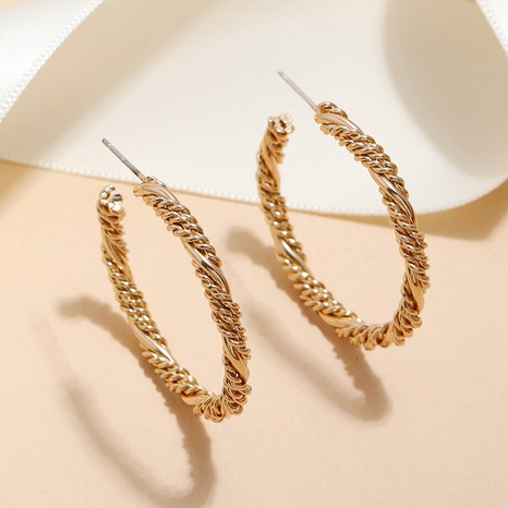 retro simple metal spiral twist circle earrings wholesale nihaojewelry NHKQ400515's discount tags