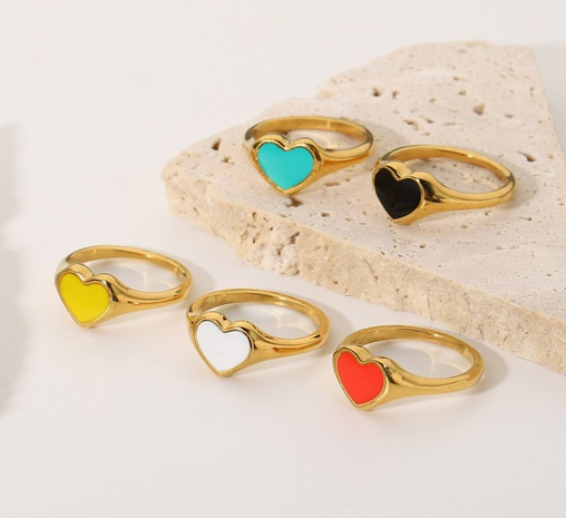 18K fashion stainless steel dripping oil heart ring wholesale nihaojewelry NHJIE400360's discount tags