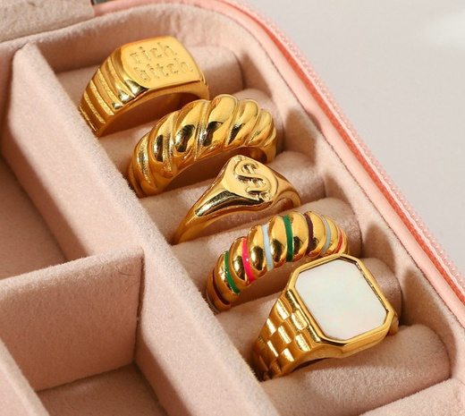 18K fashion solid color english letter stainless steel ring wholesale nihaojewelry NHJIE400365's discount tags