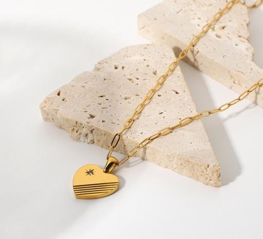 wholesale jewelry star zircon striped heart pendant stainless steel necklace nihaojewelry  NHJIE400362's discount tags
