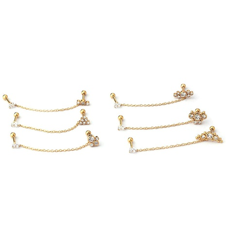 wholesale jewelry screw ball thick rod chain inlaid diamond stainless steel earrings nihaojewelry  NHEN400224's discount tags