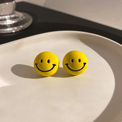 wholesale Korean fashion smiley face yellow stud earrings Nihaojewelry  NHQC400677's discount tags