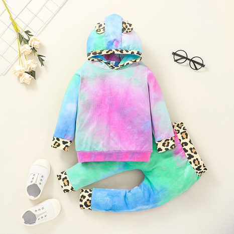 children's tie-dye pullover leopard print trousers suit wholesale Nihaojewelry  NHLF414902's discount tags