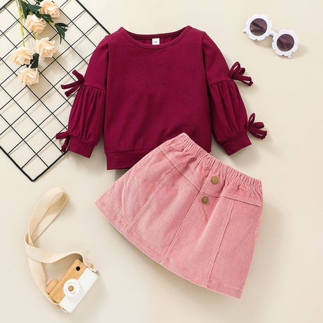fashion half-length skirt long-sleeved sweater children's suit wholesale Nihaojewelry  NHLF414903's discount tags