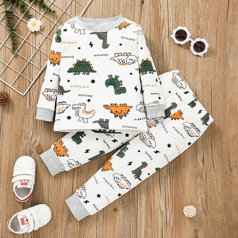 fashion printed dinosaur pullover trouser children's two-piece suit wholesale Nihaojewelry  NHLF414906's discount tags