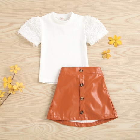 children's round neck short-sleeved pullover elastic waist leather skirt two-piece suit wholesale Nihaojewelry  NHUS414983's discount tags