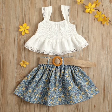 children's solid color sling blouse floral print pleated skirt suit wholesale Nihaojewelry  NHUS414984's discount tags