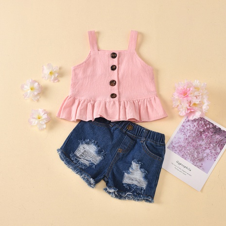 fashion sling single-breasted ruffled shirt button hole jeans children's suit wholesale Nihaojewelry  NHUS414985's discount tags