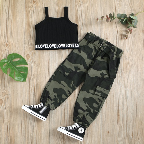 fashion letter sling top camouflage trousers with waistband children's suit wholesale Nihaojewelry  NHUS414986's discount tags