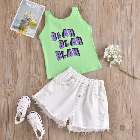 new children's letter printing vest top white ripped denim shorts two-piece wholesale Nihaojewelry  NHUS414987's discount tags