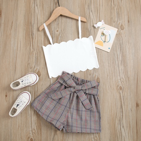 children's new white sling top bow tie belt plaid shorts two-piece suit wholesale Nihaojewelry  NHUS414988's discount tags