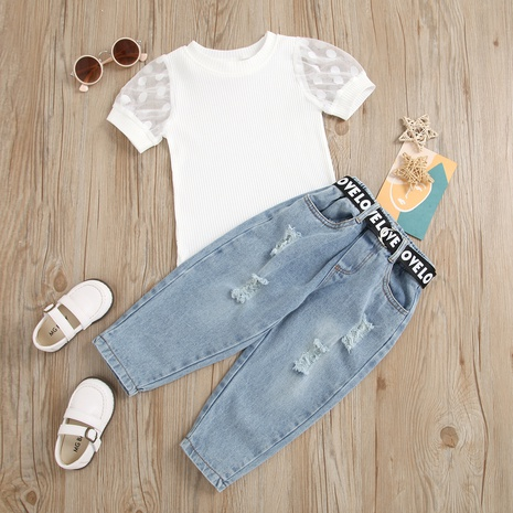 children's mesh stitching sleeve pit strip pullover letter webbing hole denim trousers suit wholesale Nihaojewelry  NHUS414989's discount tags