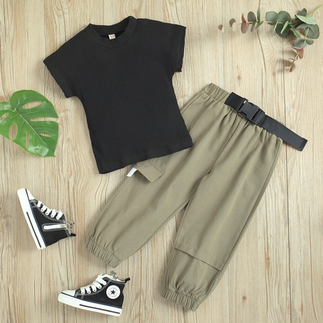 fashion black short-sleeved pit strip pullover harem casual trousers set wholesale Nihaojewelry  NHUS414991's discount tags