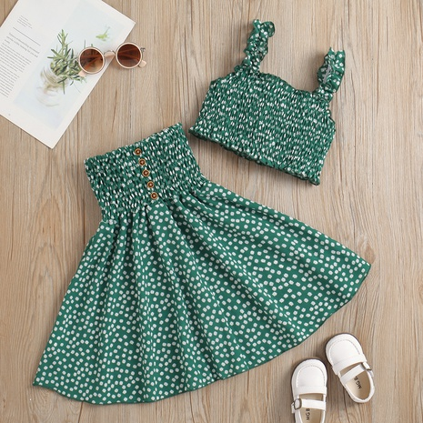 new floral sling blouse pleated skirt two-piece children's suit wholesale Nihaojewelry  NHUS414992's discount tags