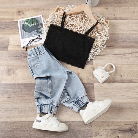 fashion sling stitching solid color lace tube top tooling big pocket denim trousers suit wholesale Nihaojewelry  NHUS414992's discount tags
