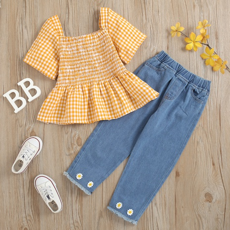 wrinkle square neck short-sleeved pullover chrysanthemum denim trousers children's suit wholesale Nihaojewelry  NHUS414994's discount tags