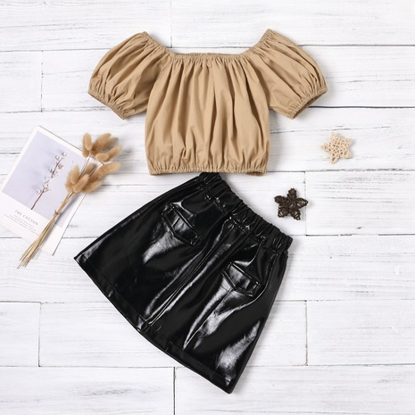 fashion solid color lantern sleeve off-shoulder pullover leather skirt suit wholesale Nihaojewelry  NHUS414996's discount tags