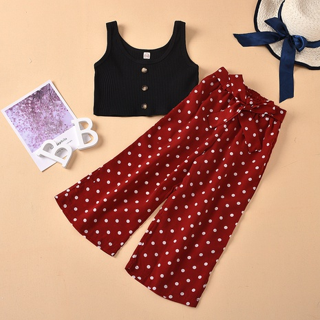 fashion sling solid color shirt belt bow print dotted trousers children's suit wholesale Nihaojewelry  NHUS414998's discount tags