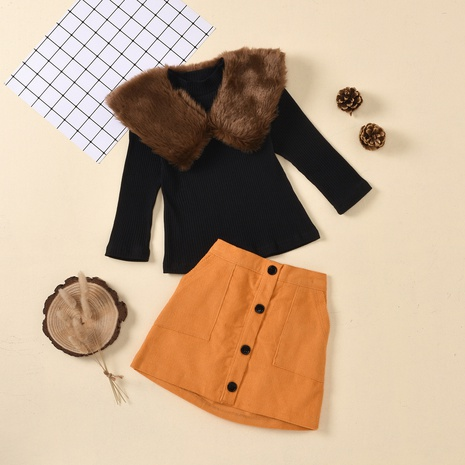 fashion fluffy collar solid color pit sweater open bag short skirt two-piece wholesale Nihaojewelry  NHUS414999's discount tags