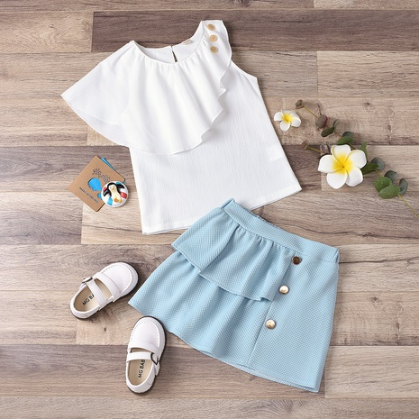 new children's sleeveless ruffled blouse A-line skirt two-piece wholesale Nihaojewelry  NHUS415003's discount tags