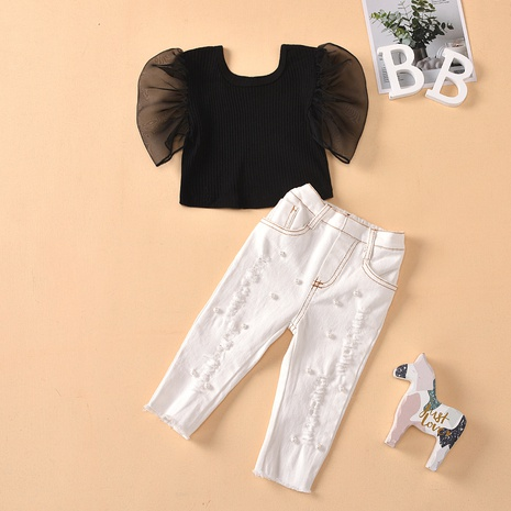 round neck transparent net gauze sleeves beads ripped jeans children's suit wholesale Nihaojewelry  NHUS415005's discount tags