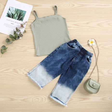 children's sling tops gradient denim fringed trousers two-piece wholesale Nihaojewelry  NHUS415006's discount tags