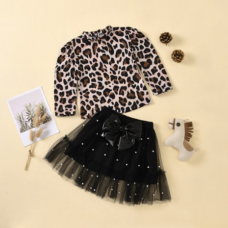 children's leopard print long-sleeved shirt bow lace short skirt two-piece wholesale Nihaojewelry  NHUS415008's discount tags