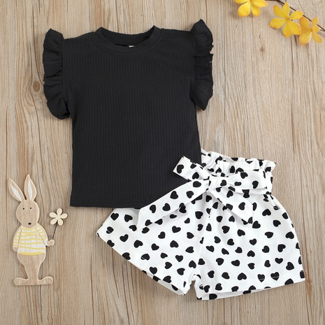children's flying sleeves round neck solid color pit striped tops printed shorts set wholesale Nihaojewelry  NHUS415009's discount tags