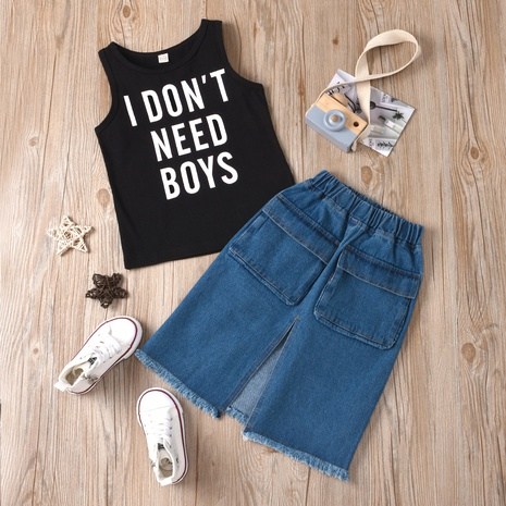 new round neck letter printing small vest denim split A-line skirt two-piece wholesale Nihaojewelry  NHUS415010's discount tags