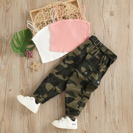 children's solid color suspenders chest pit striped tops camouflage trousers two-piece wholesale Nihaojewelry  NHUS415012's discount tags