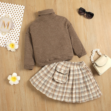new turtleneck long-sleeved sweater knitted bottoming shirt plaid skirt two-piece wholesale Nihaojewelry  NHUS415014's discount tags