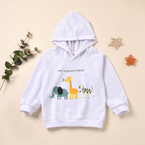 cartoon animal print children's hooded long-sleeved pullover sweater wholesale Nihaojewelry  NHUS415015's discount tags
