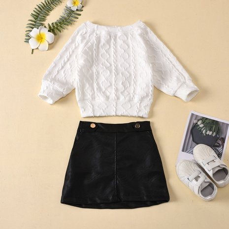 new children's solid color round neck twist knit pullover leather skirt two-piece wholesale Nihaojewelry  NHUS415019's discount tags