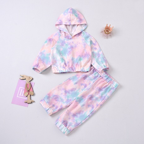 new tie-dye long-sleeved hooded pullover two-piece children's suit wholesale Nihaojewelry  NHUS415022's discount tags