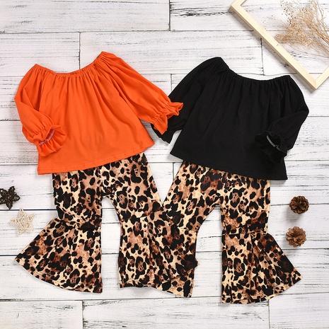 Pure Cotton Woven Bubble Cotton Top Leopard Print Flared Pants Suit Wholesale Nihaojewelry  NHUS415023's discount tags