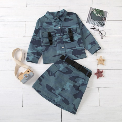 new children's long-sleeved single-breasted lapel jacket belt short skirt suit wholesale Nihaojewelry  NHUS415024's discount tags