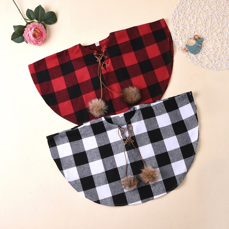 fashion loose plaid fur ball hedging cloak children's clothing wholesale nihaojewelry NHUS415026's discount tags