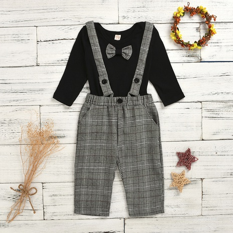 fashion knitted cotton woven check bows overalls wholesale Nihaojewelry  NHUS415029's discount tags