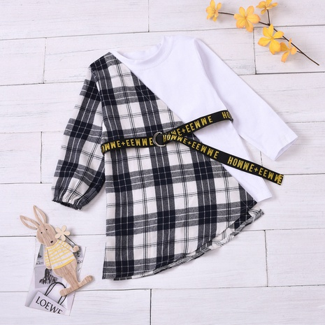 fashion long-sleeved round neck plaid stitching belt children's skirt wholesale nihaojewelry NHUS415030's discount tags
