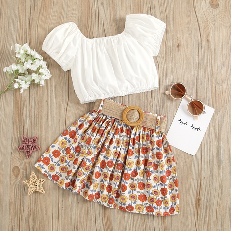 fashion square neck solid color blouse belted print skirt children's suit wholesale Nihaojewelry  NHUS415034's discount tags
