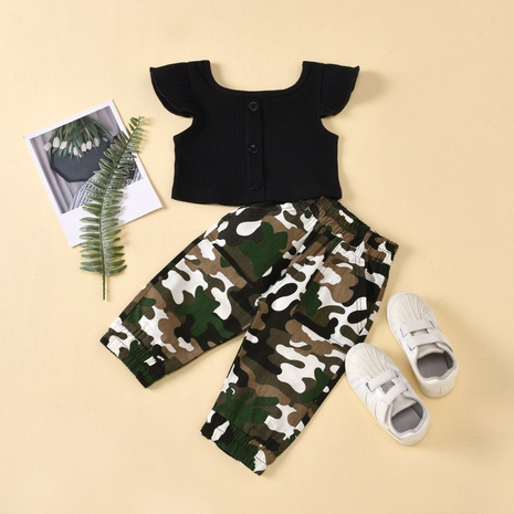 Solid color flying sleeves single-breasted jacket camouflage pants children's suits wholesale Nihaojewelry  NHUS415035's discount tags