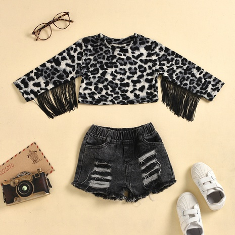 fashion leopard print round neck long-sleeved fringed top denim shorts suit wholesale Nihaojewelry  NHUS415037's discount tags