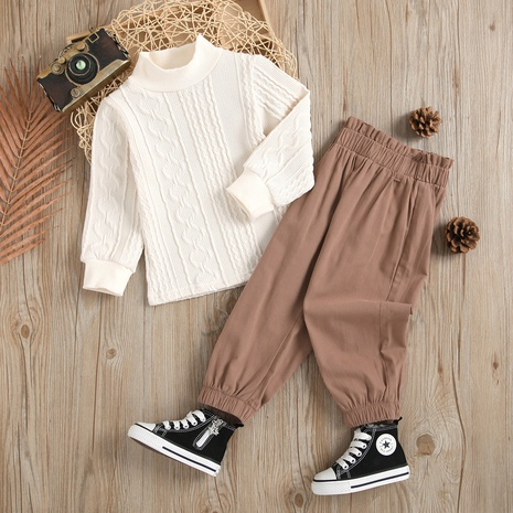 Long Sleeve Turtleneck Jacquard Knitted Sweater Waist Pants Two-Piece Wholesale Nihaojewelry  NHUS415040's discount tags