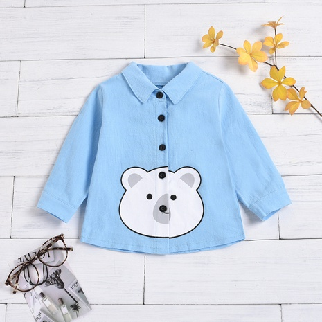 cartoon animal print long-sleeved lapel single-breasted print children's shirt wholesale nihaojewelry  NHUS415042's discount tags