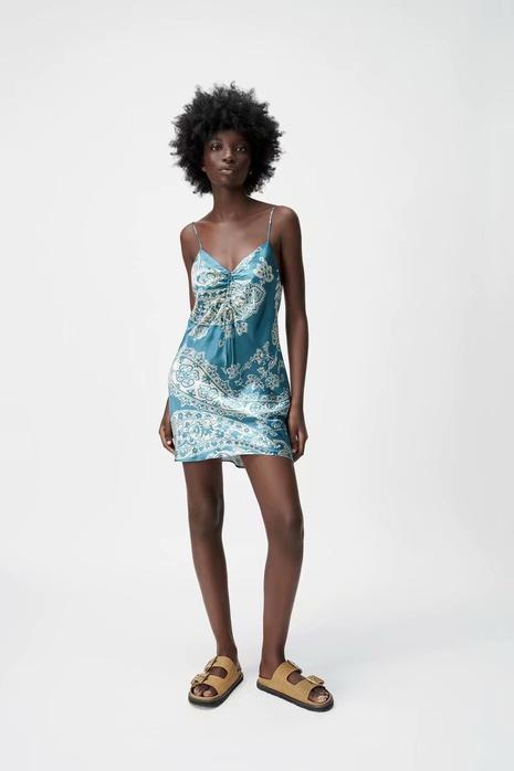 vestido corto plisado con cordón estampado retro al por mayor nihaojewelry NHAM415254's discount tags