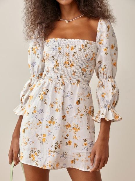 Vestido de manga abullonada plisado con cuello cuadrado con estampado floral retro al por mayor Nihaojewelry NHAM415257's discount tags